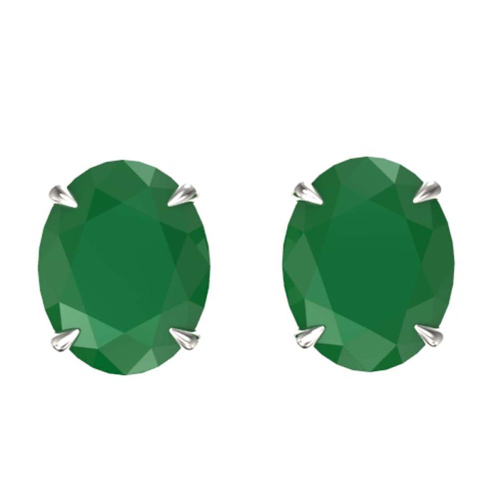7 ctw Emerald Stud Earrings 18K White Gold - REF-70Y9X - SKU:21660
