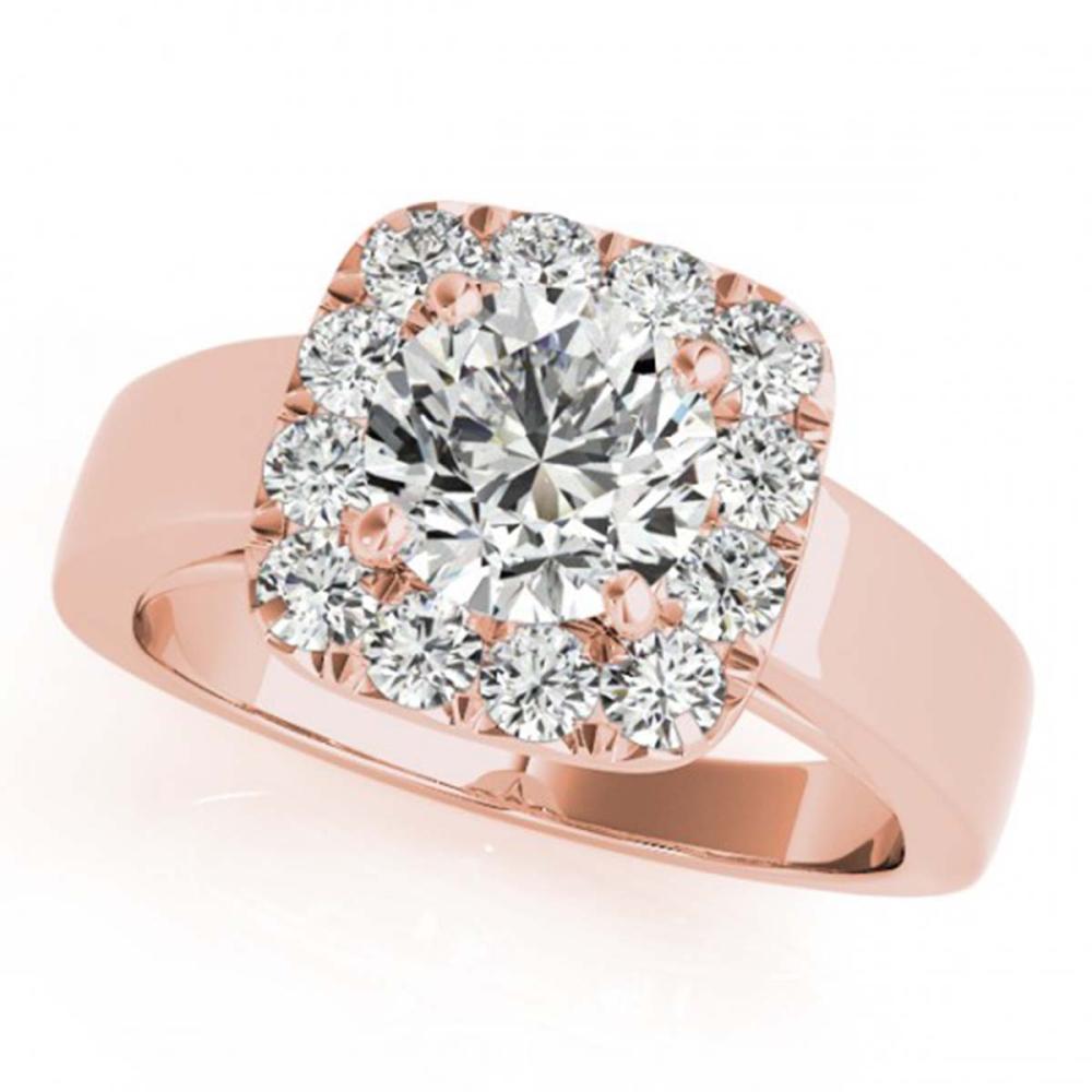1.55 ctw VS/SI Diamond Solitaire Halo Ring 14K Rose Gold - REF-296F9N - SKU:24747