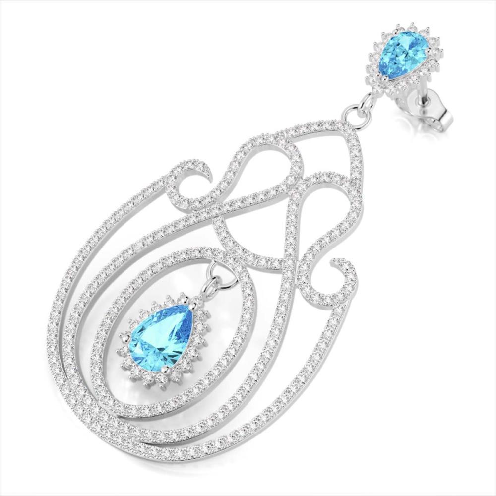 6.40 ctw Topaz & VS/SI Diamond Earrings 14K White Gold - REF-381N8A - SKU:22431