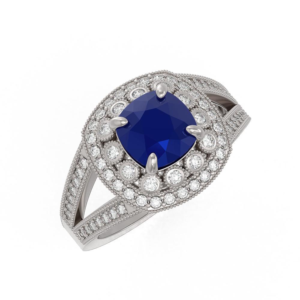 2.69 ctw Sapphire & Diamond Ring 14K White Gold - REF-99W3H - SKU:44030