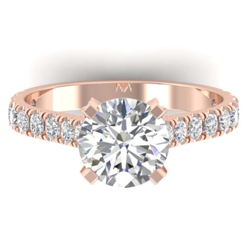 2.4 ctw VS/SI Diamond Solitaire Art Deco Ring 18K Rose Gold - REF-628N5A - SKU:32700
