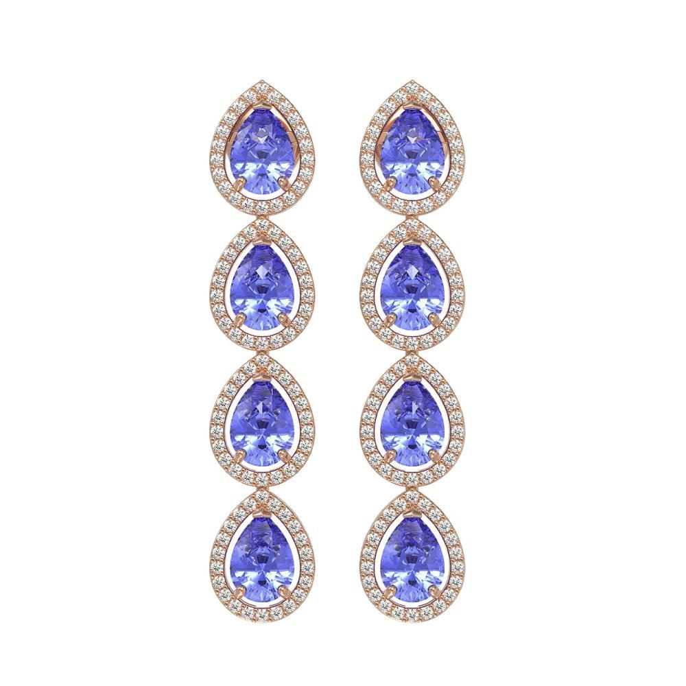 9.01 ctw Tanzanite & Diamond Halo Earrings 10K Rose Gold - REF-193K6W - SKU:41148
