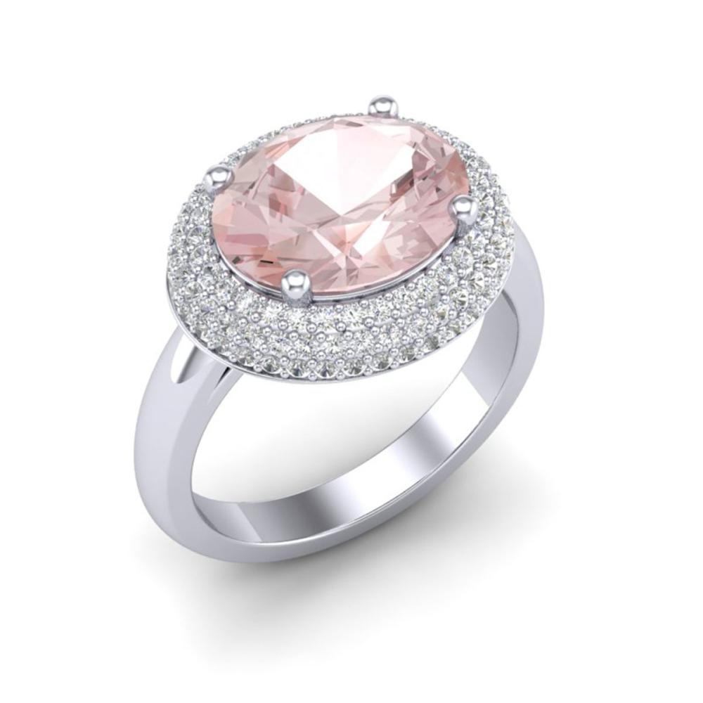 4.50 ctw Morganite & VS/SI Diamond Ring 18K White Gold - REF-163X8R - SKU:20919