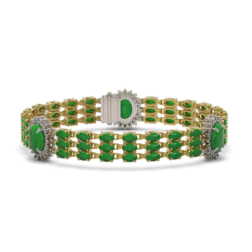 23.92 ctw Jade & Diamond Bracelet 14K Yellow Gold - REF-303X8R - SKU:45307
