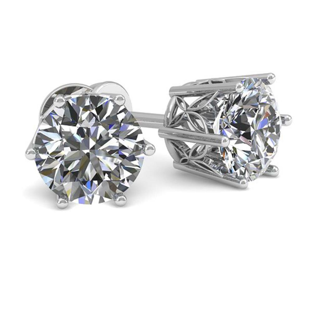 1.05 ctw VS/SI Diamond Stud Art Deco Earrings 14K White Gold - REF-148X5R - SKU:35586