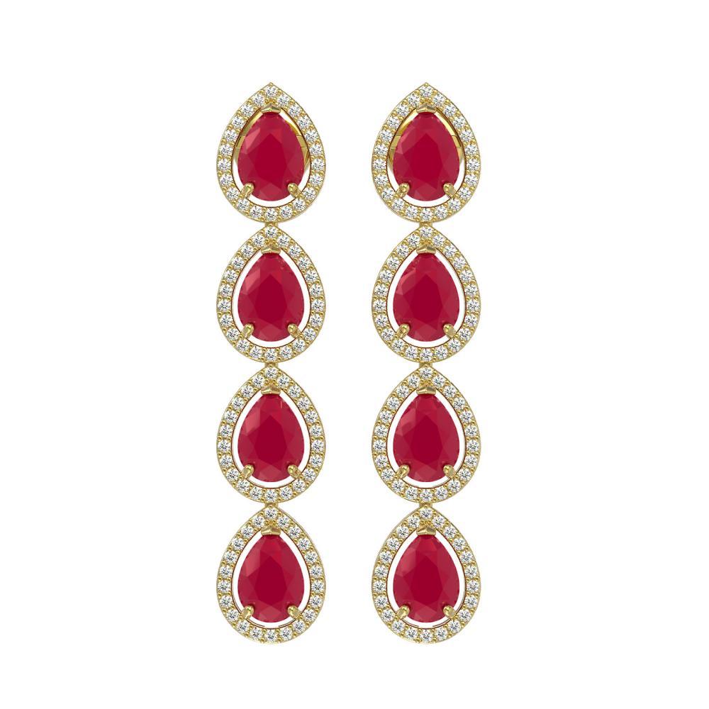 10.2 ctw Ruby & Diamond Halo Earrings Yellow 10K Yellow Gold - REF-155M5F - SKU:41143