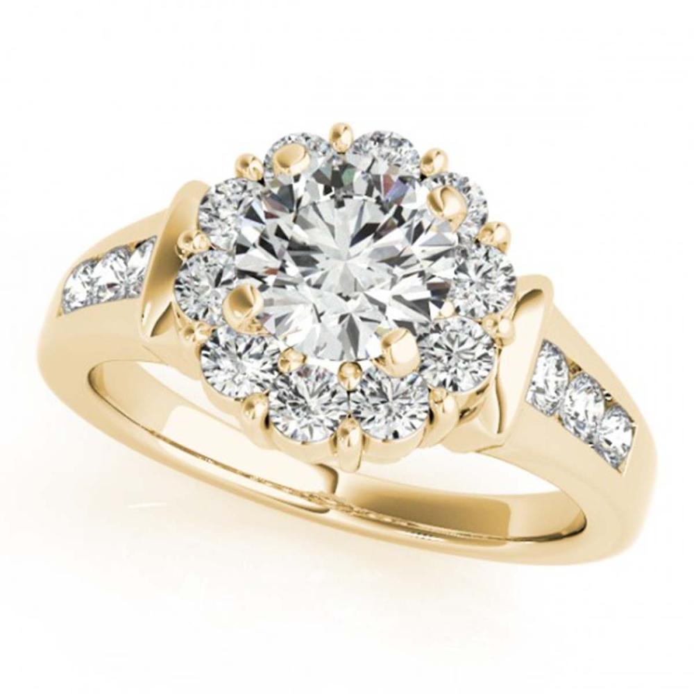1.35 ctw VS/SI Diamond Solitaire Halo Ring 14K Yellow Gold - REF-110M2F - SKU:24778