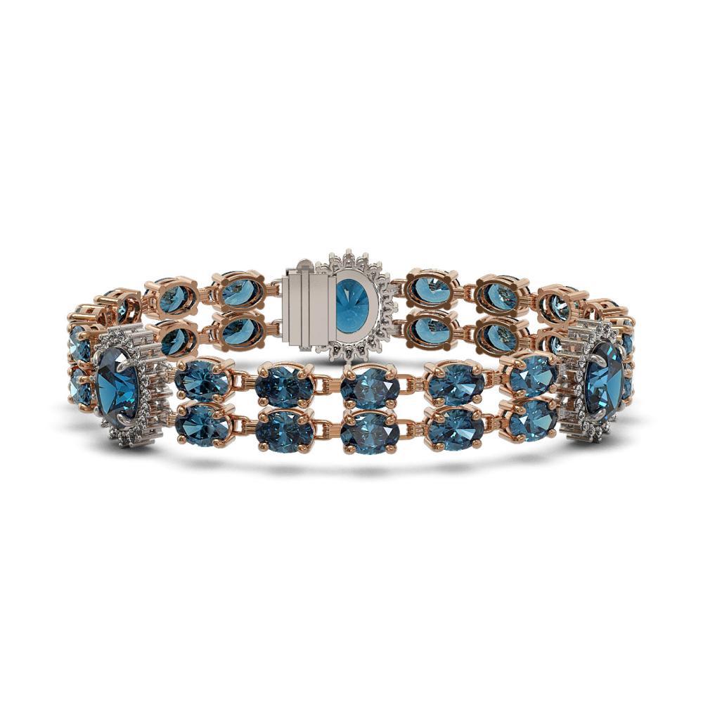 19.3 ctw London Topaz & Diamond Bracelet 14K Rose Gold - REF-175K5W - SKU:44262