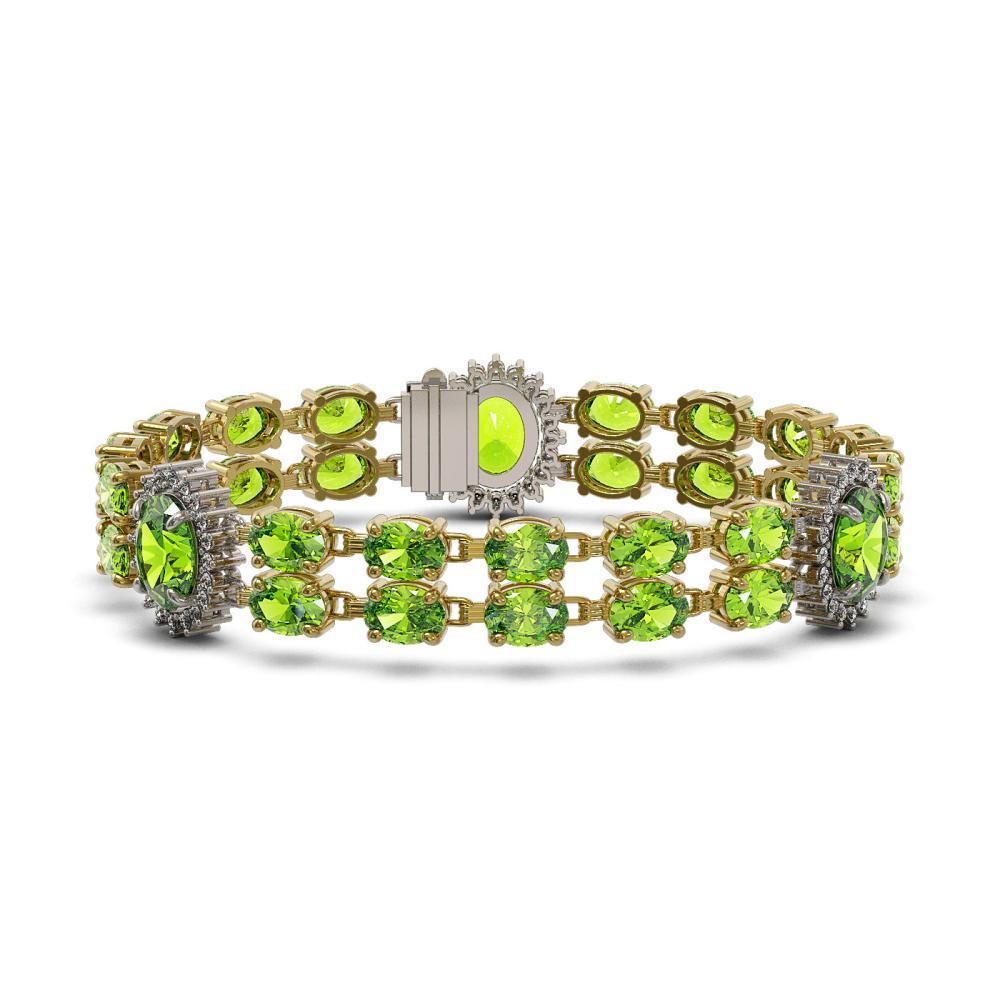 18.66 ctw Peridot & Diamond Bracelet 14K Yellow Gold - REF-180W8H - SKU:44254