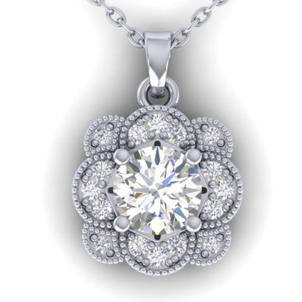 0.75 ctw I-SI Diamond Art Deco Necklace 18K White Gold - REF-125W5H - SKU:32774
