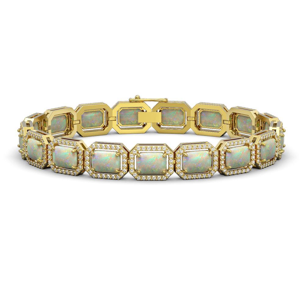 16.86 ctw Opal & Diamond Halo Bracelet 10K Yellow Gold - REF-334N7A - SKU:41395