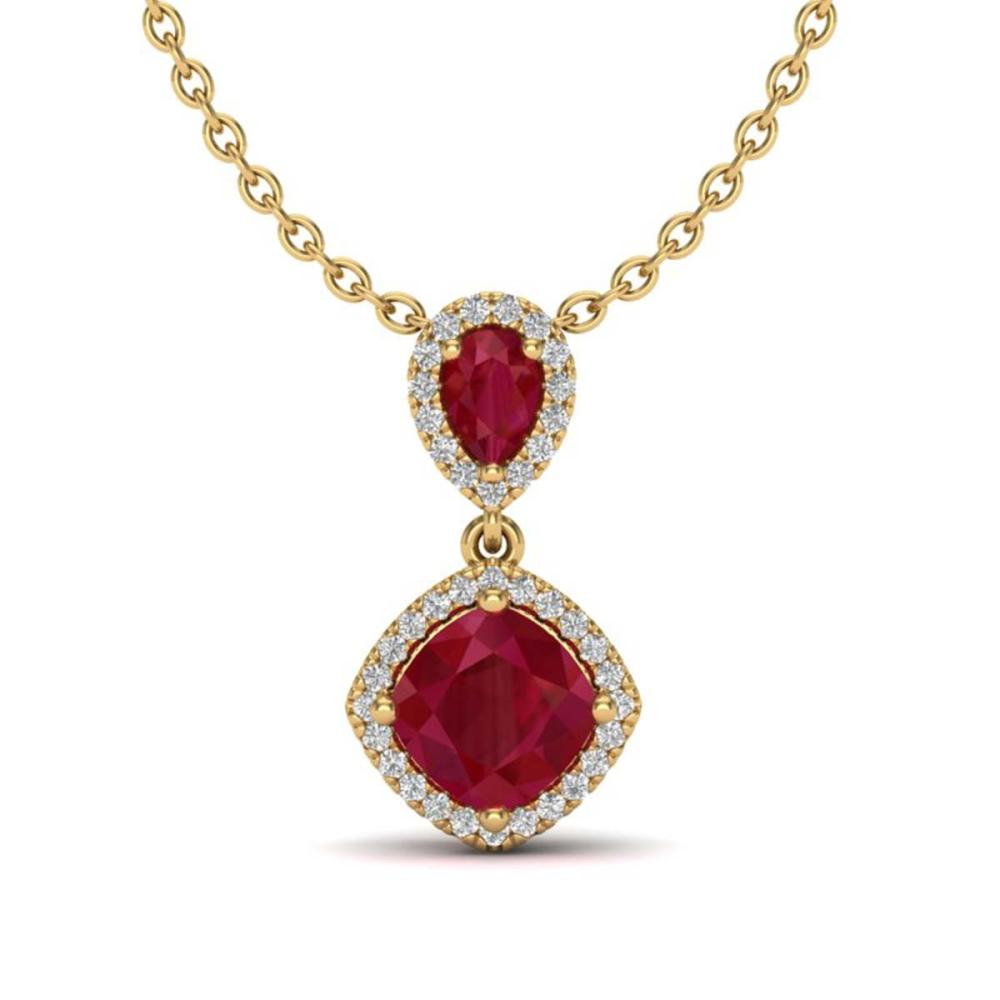 3.50 ctw Ruby & VS/SI Diamond Necklace 10K Yellow Gold - REF-63H6M - SKU:20547