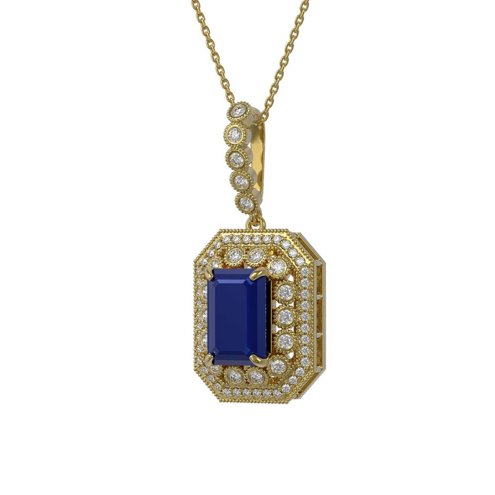 7.18 ctw Sapphire & Diamond Necklace 14K Yellow Gold - REF-159M3F - SKU:43444