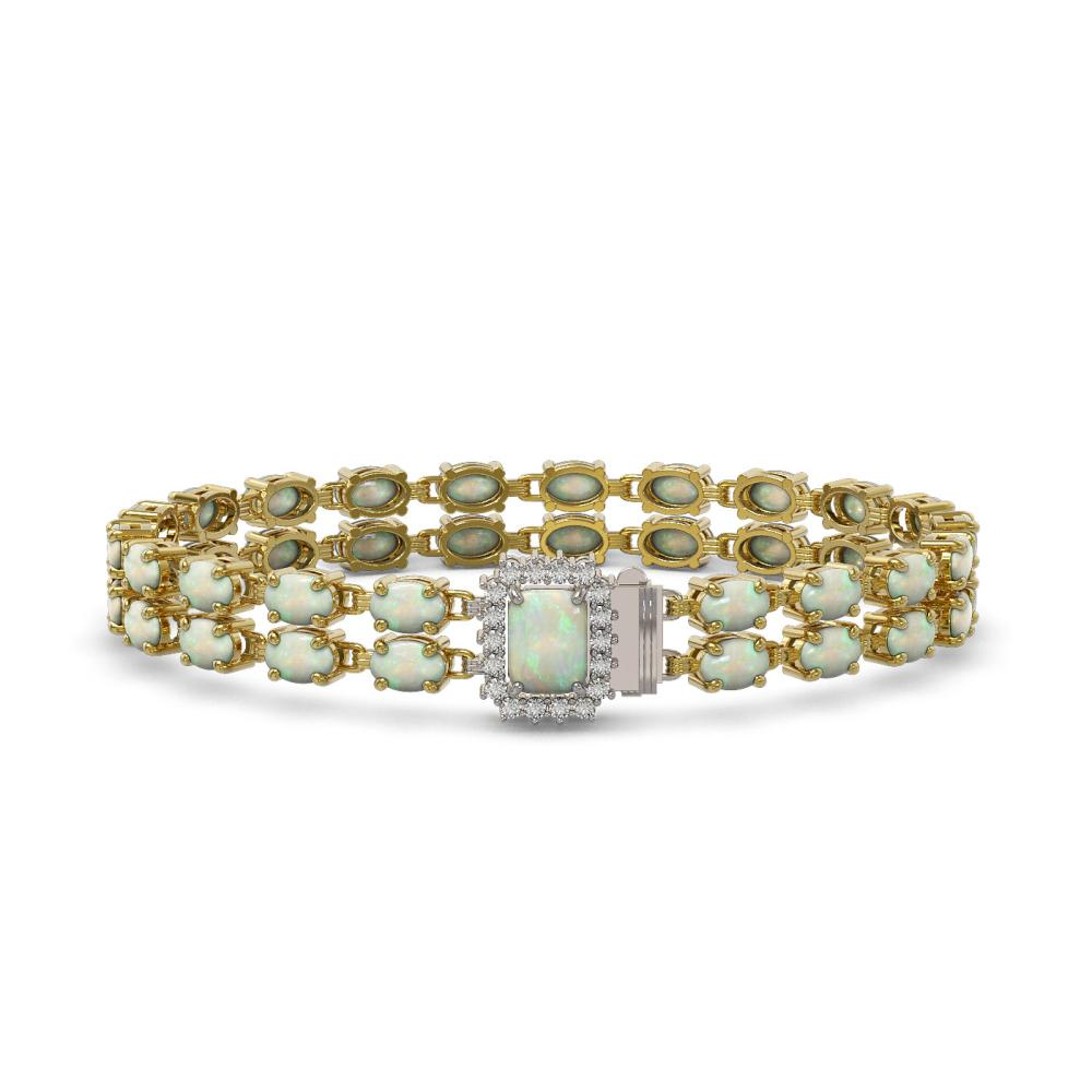13.48 ctw Opal & Diamond Bracelet 14K Yellow Gold - REF-192K2W - SKU:45724
