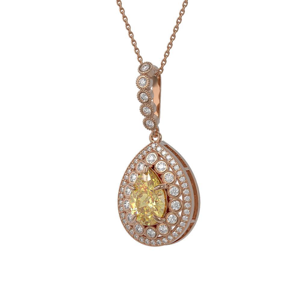 4.17 ctw Canary Citrine & Diamond Necklace 14K Rose Gold - REF-127V3Y - SKU:43215