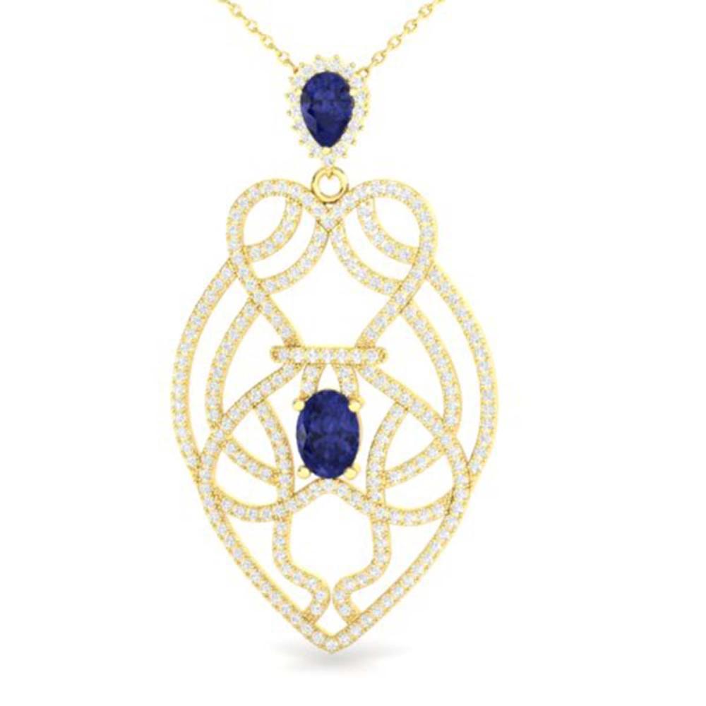 3.50 ctw Tanzanite & VS/SI Diamond Heart Necklace 14K Yellow Gold - REF-191F3N - SKU:21256