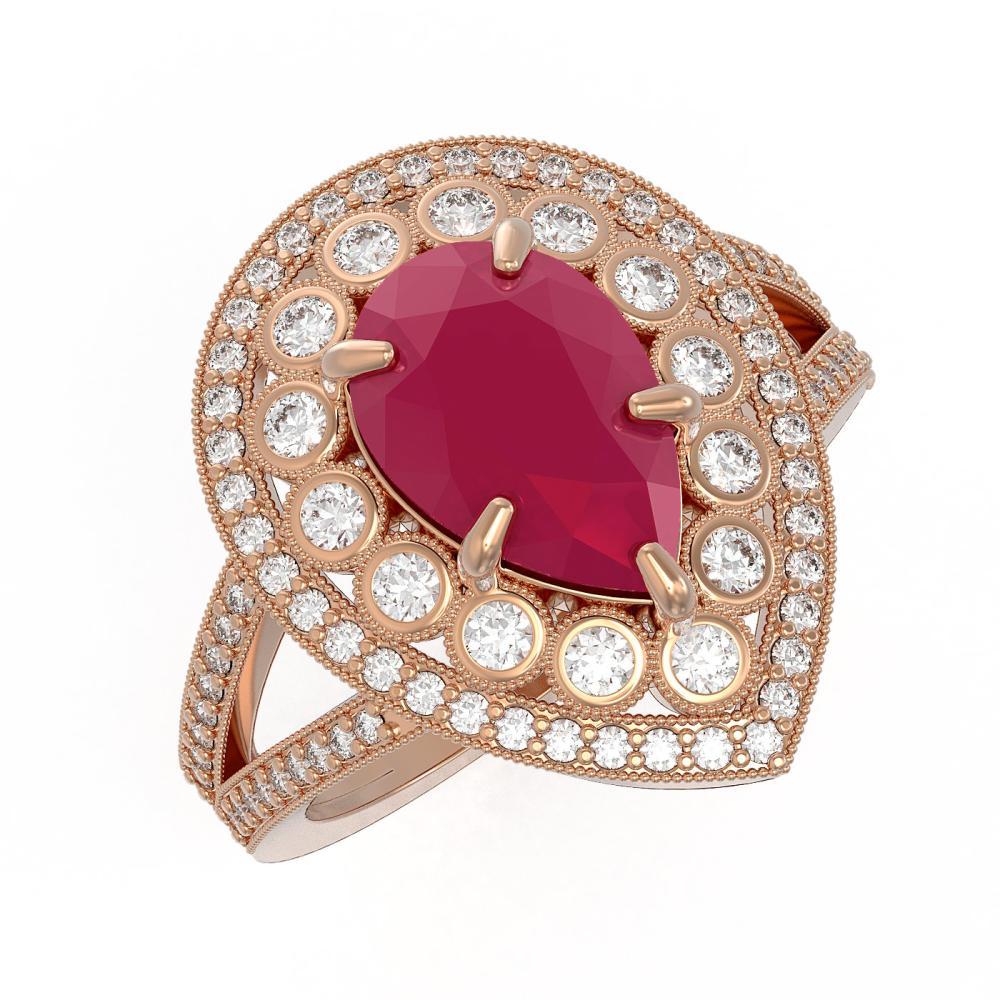 5.12 ctw Ruby & Diamond Ring 14K Rose Gold - REF-153M3F - SKU:43122