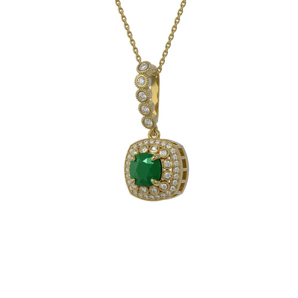 2.55 ctw Emerald & Diamond Necklace 14K Yellow Gold - REF-79N6A - SKU:44074