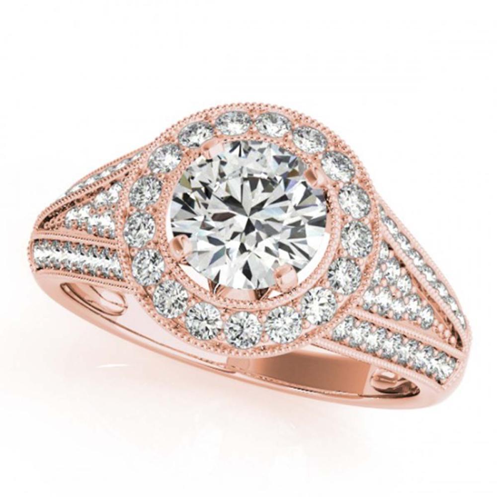 1.45 ctw VS/SI Diamond Solitaire Halo Ring 14K Rose Gold - REF-162A7V - SKU:24564