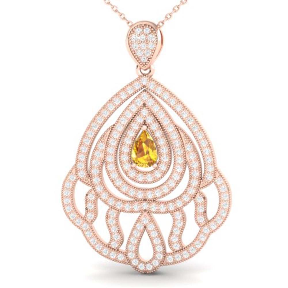 2 ctw Yellow Sapphire & VS/SI Diamond Necklace 14K Rose Gold - REF-180K2W - SKU:21276