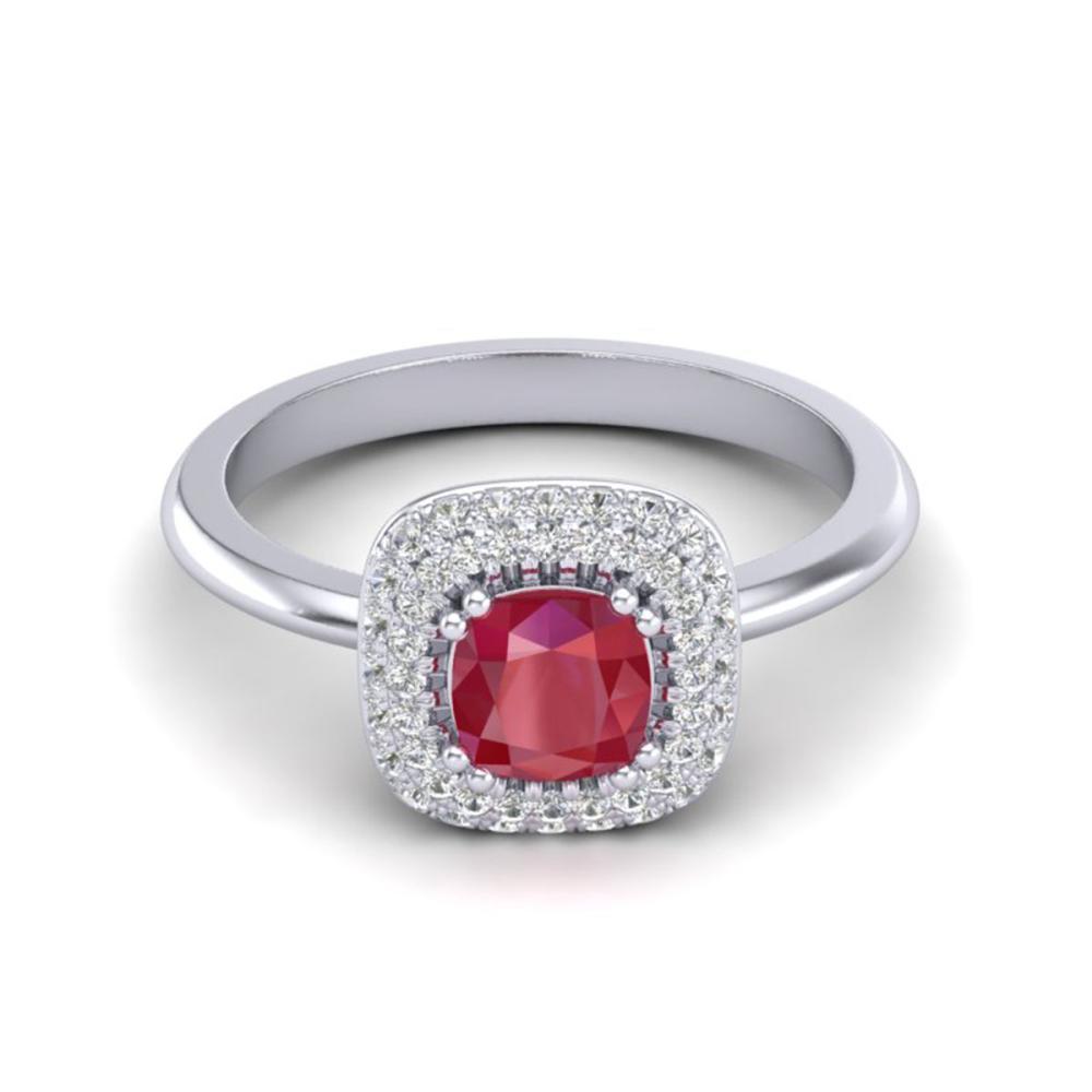 1.16 ctw Ruby & VS/SI Diamond Ring Halo 18K White Gold - REF-70W9H - SKU:21033