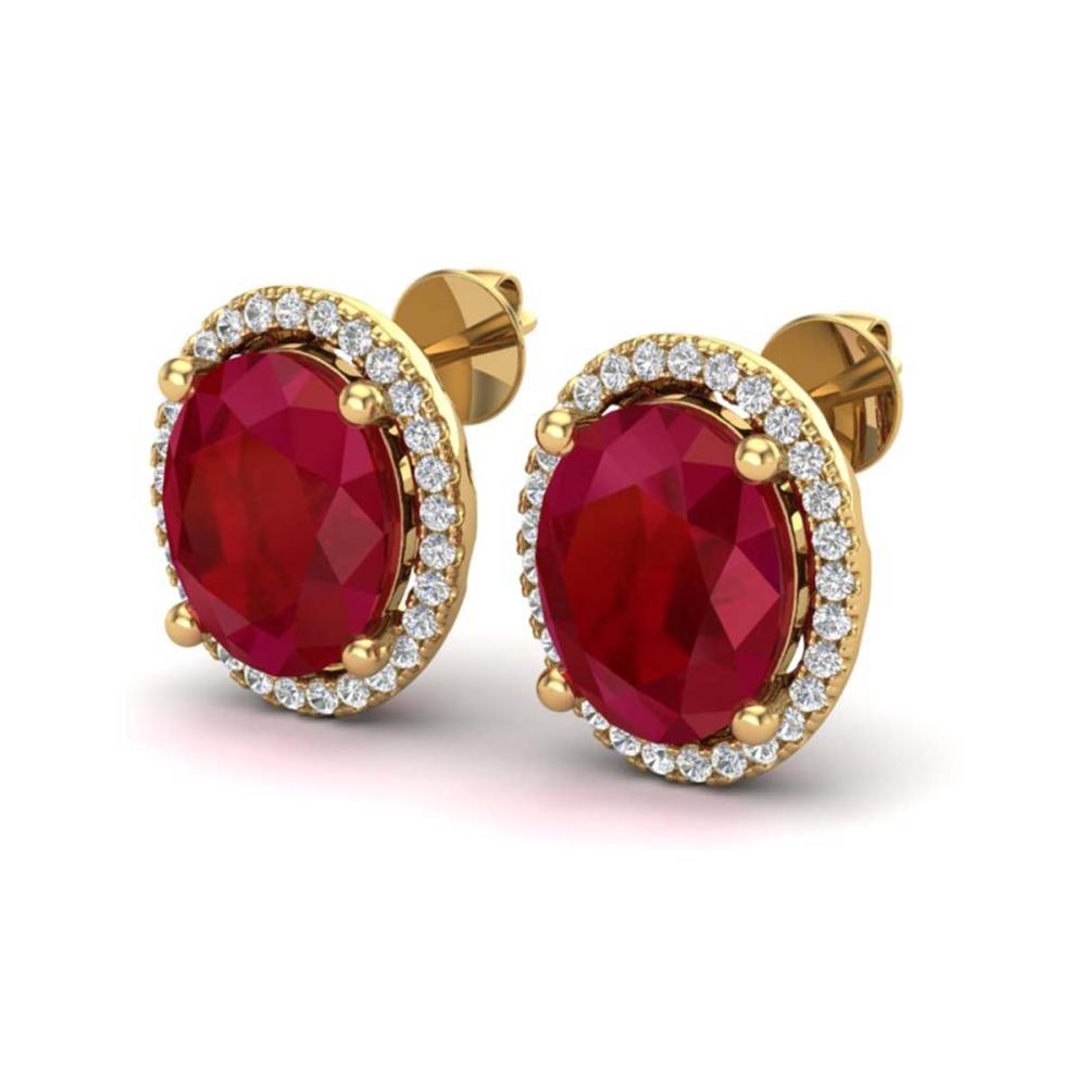 6 ctw Ruby & VS/SI Diamond Earrings 18K Yellow Gold - REF-101X6R - SKU:21063