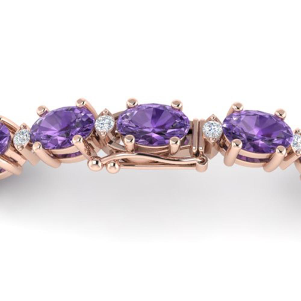 12 ctw Amethyst & VS/SI Diamond Eternity Bracelet 10K Rose Gold - REF-72H5M - SKU:21436