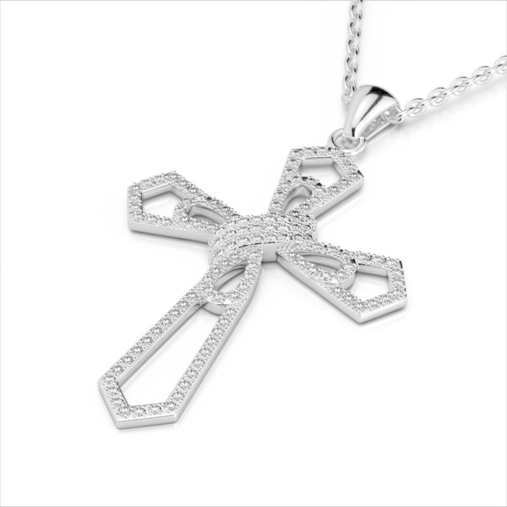 1 ctw VS/SI Diamond Cross Necklace 18K White Gold - REF-107X3R - SKU:22577