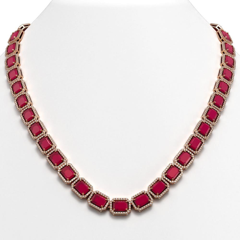58.59 ctw Ruby & Diamond Halo Necklace Rose 10K Rose Gold - REF-777F8N - SKU:41334
