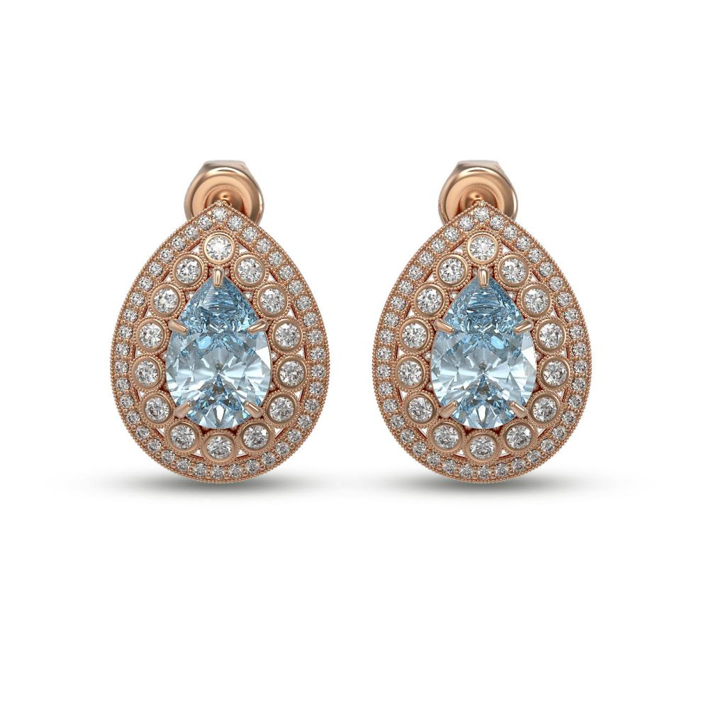 7.15 ctw Aquamarine & Diamond Earrings 14K Rose Gold - REF-285V8Y - SKU:43185