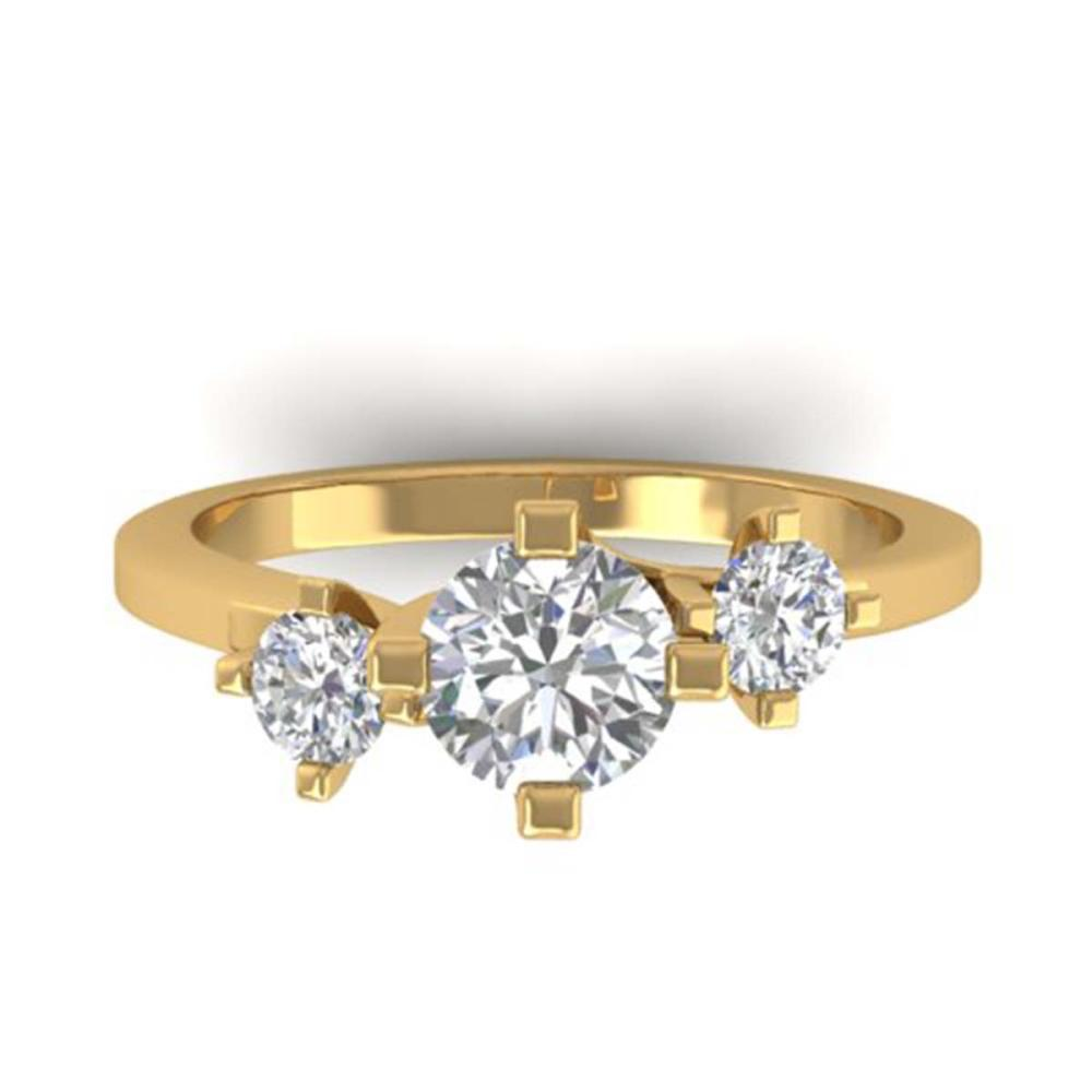 1.25 ctw VS/SI Diamond Solitaire 3 Stone Ring 18K Yellow Gold - REF-216W2H - SKU:32665