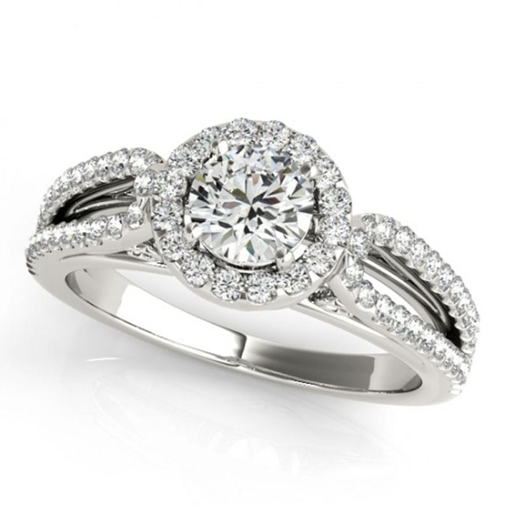 1.15 ctw VS/SI Diamond Halo Ring 14K White Gold - REF-145X4R - SKU:24273