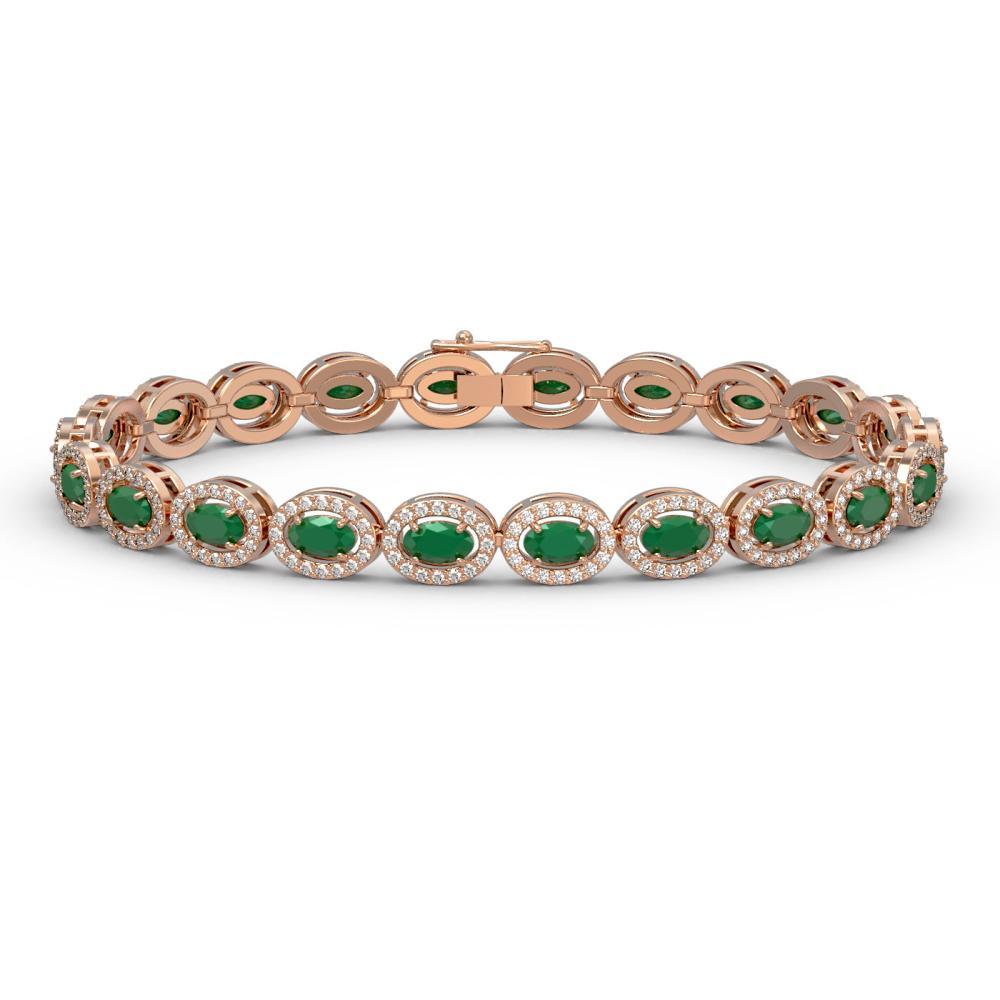 11.58 ctw Emerald & Diamond Halo Bracelet 10K Rose Gold - REF-263R6K - SKU:40350