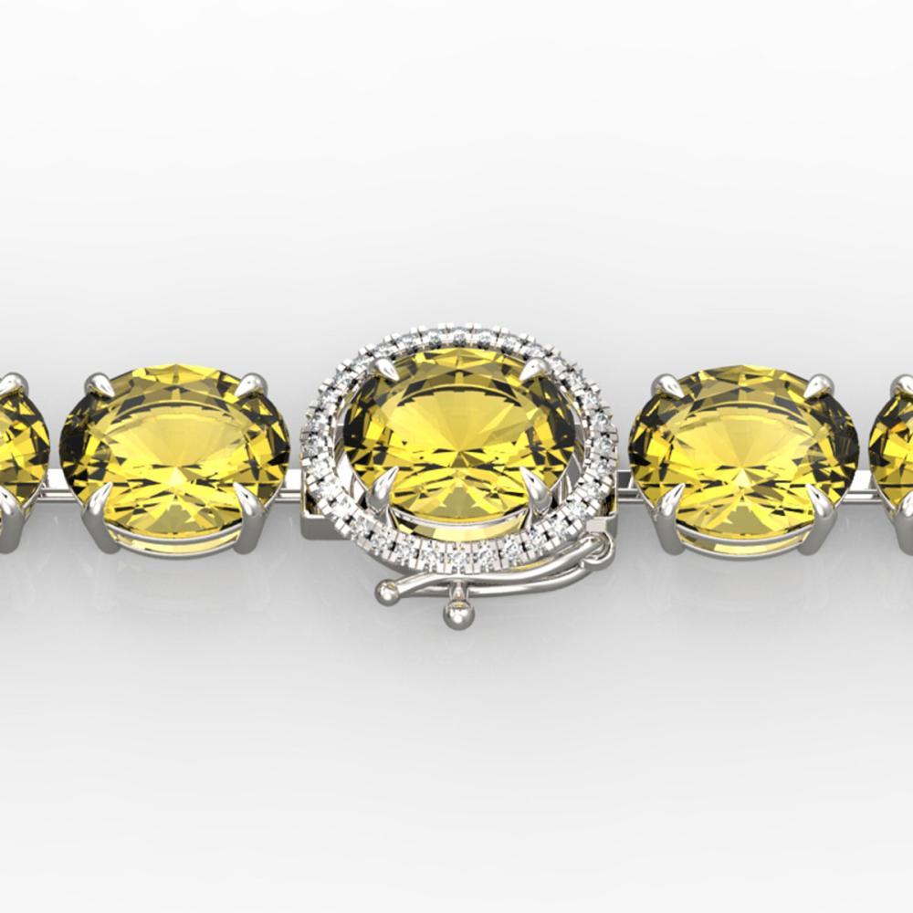 78 ctw Citrine & VS/SI Diamond Bracelet 14K White Gold - REF-212Y7X - SKU:22255