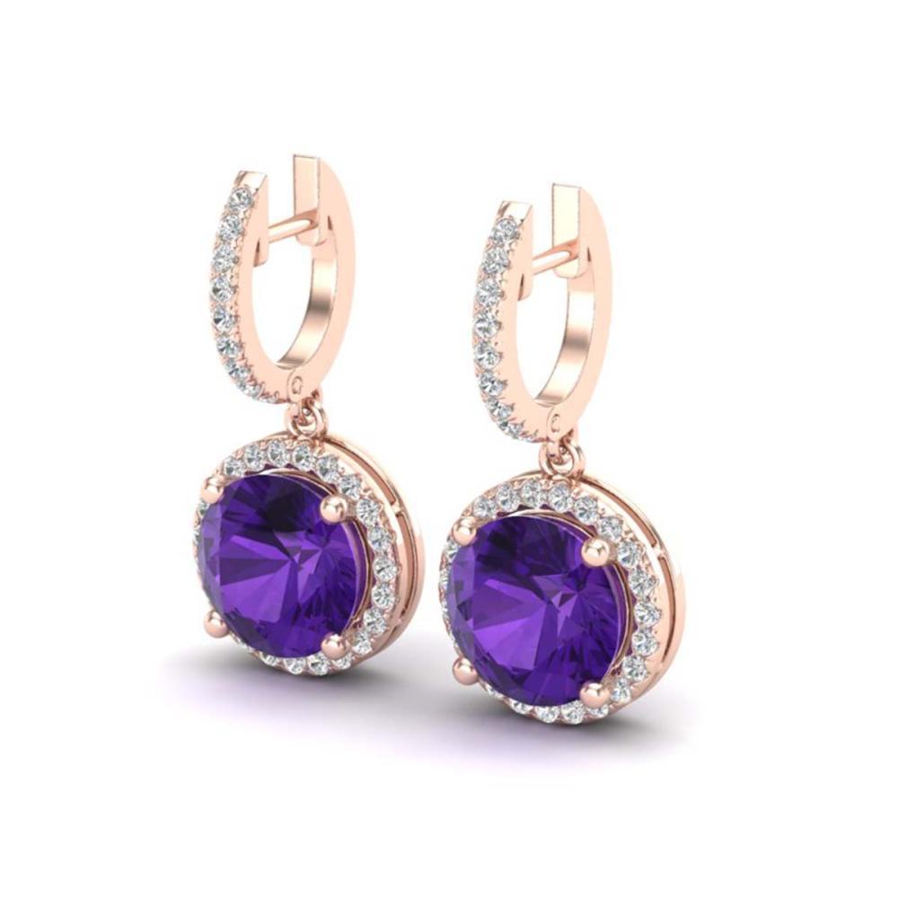 4 ctw Amethyst & VS/SI Diamond 14K Rose Gold - REF-78Y2X - SKU:23176