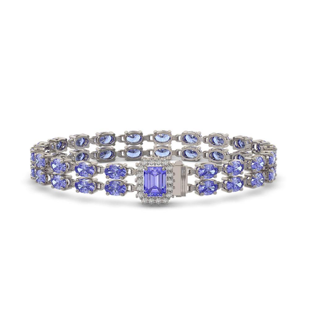 16.08 ctw Tanzanite & Diamond Bracelet 14K White Gold - REF-214V2Y - SKU:45716