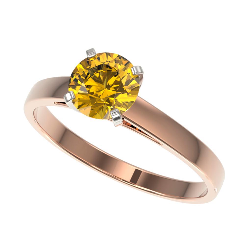 1 ctw Intense Yellow Diamond Ring 10K Rose Gold - REF-199R5K - SKU:32990