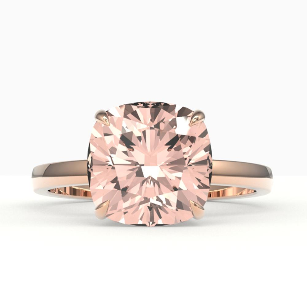 5 ctw Cushion Cut Morganite Stud Ring 14K Rose Gold - REF-68Y4X - SKU:22191