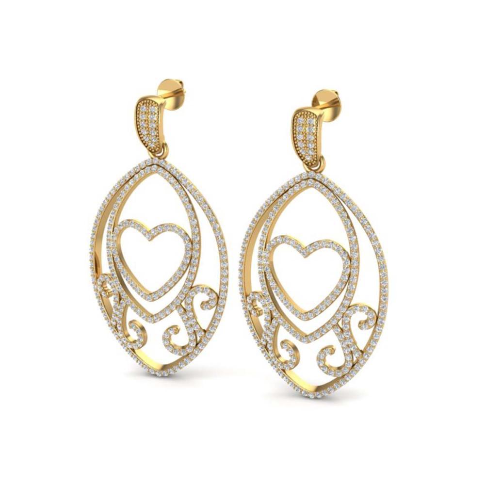 3.20 ctw VS/SI Diamond Heart Earrings 18K Yellow Gold - REF-252K2W - SKU:22586