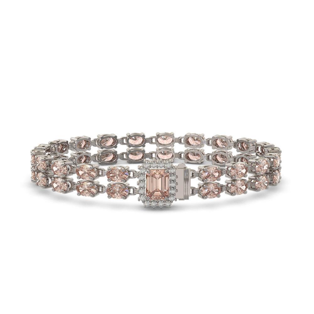 16.35 ctw Morganite & Diamond Bracelet 14K White Gold - REF-239F6N - SKU:45719