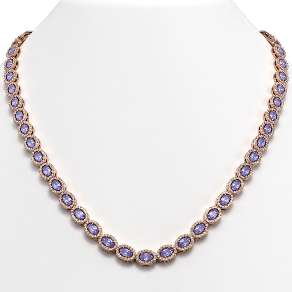 22.62 ctw Tanzanite & Diamond Halo Necklace 10K Rose Gold - REF-510A2V - SKU:40308