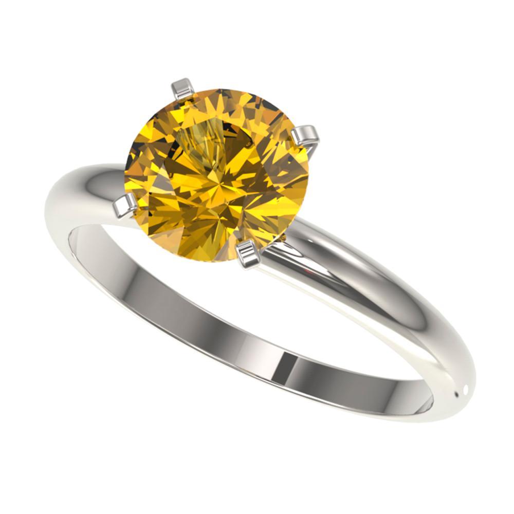 2 ctw Intense Yellow Diamond Ring 10K White Gold - REF-435R2K - SKU:32940