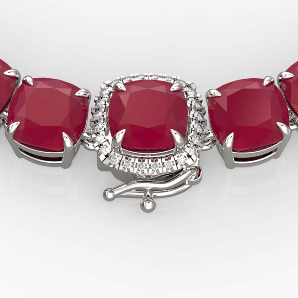116 ctw Ruby & Diamond Eternity Necklace 14K White Gold - REF-581H8M - SKU:23359