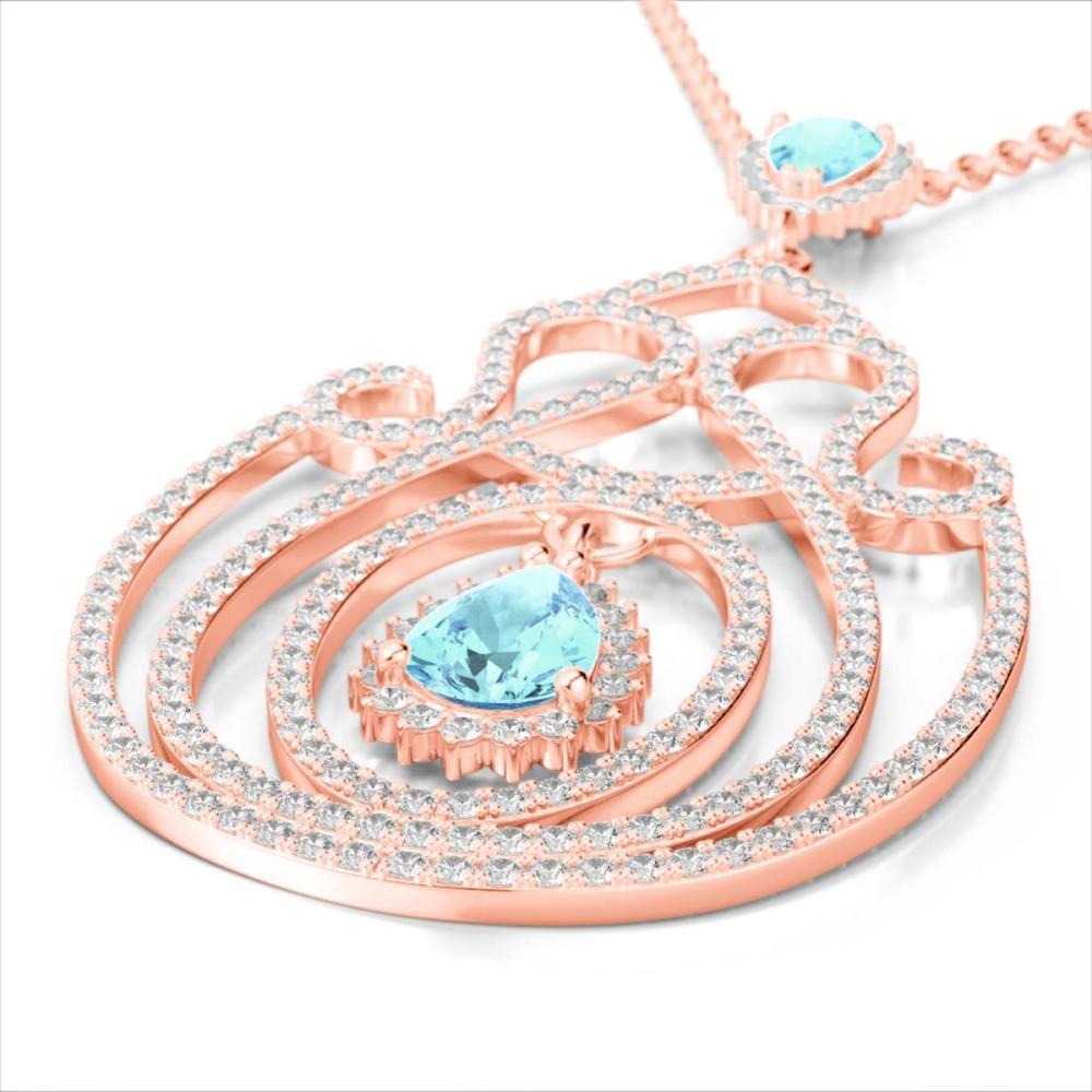 3.20 ctw Sky Blue Topaz & Diamond Heart Necklace 14K Rose Gold - REF-212V7Y - SKU:22444