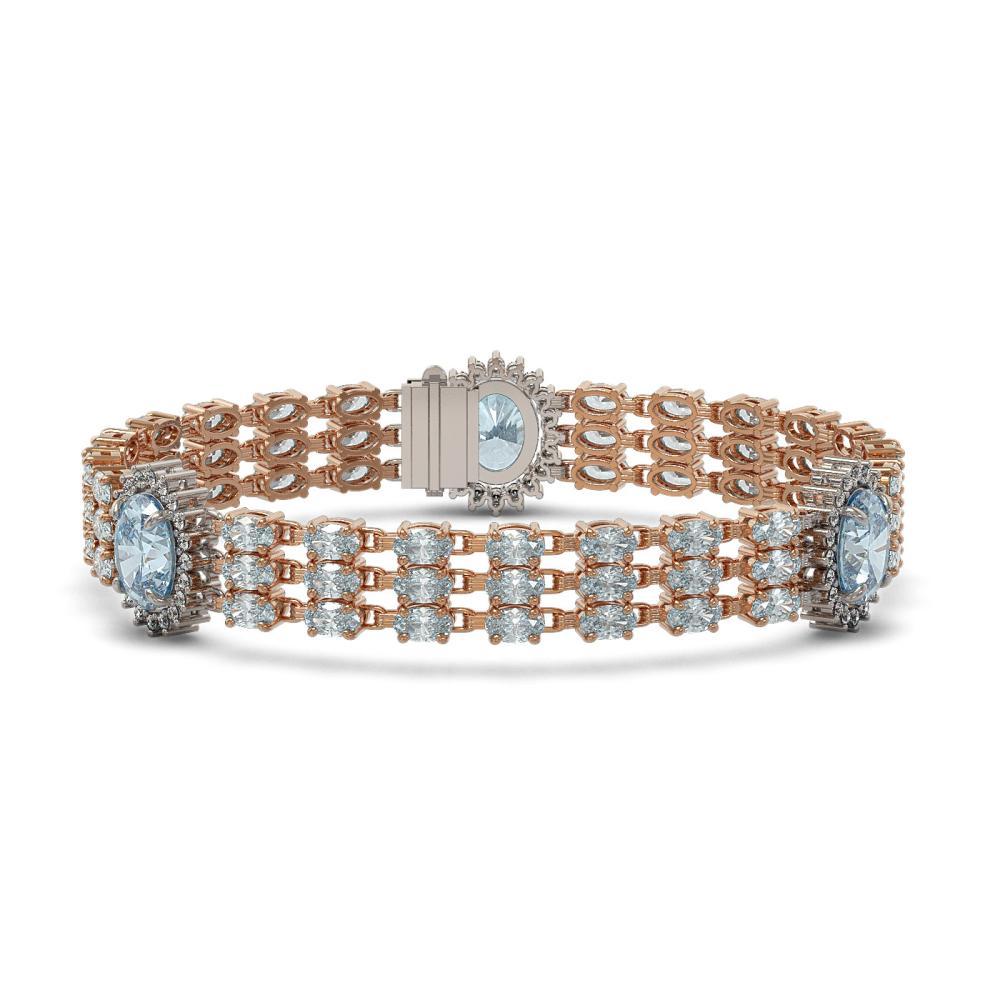 31.24 ctw Sky Topaz & Diamond Bracelet 14K Rose Gold - REF-220R9K - SKU:45282