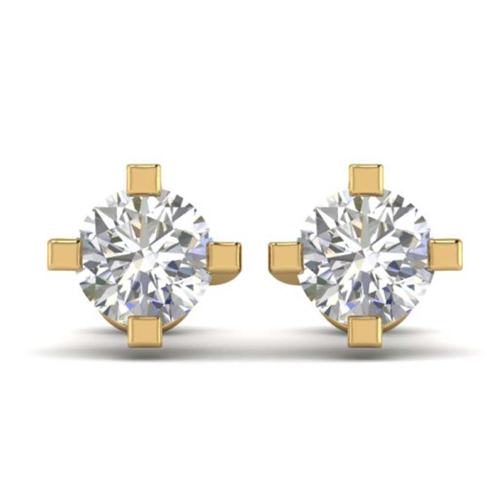 1 ctw VS/SI Diamond Solitaire Stud Earrings 18K Yellow Gold - REF-149R8K - SKU:32659