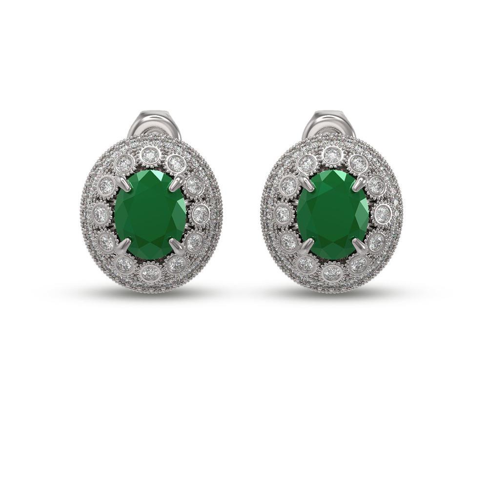 8.84 ctw Emerald & Diamond Earrings 14K White Gold - REF-227F3N - SKU:43628