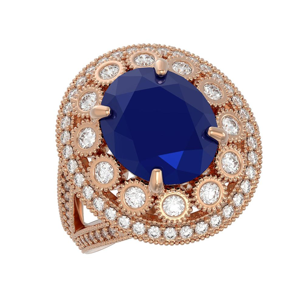 8.76 ctw Sapphire & Diamond Ring 14K Rose Gold - REF-200N9A - SKU:43743