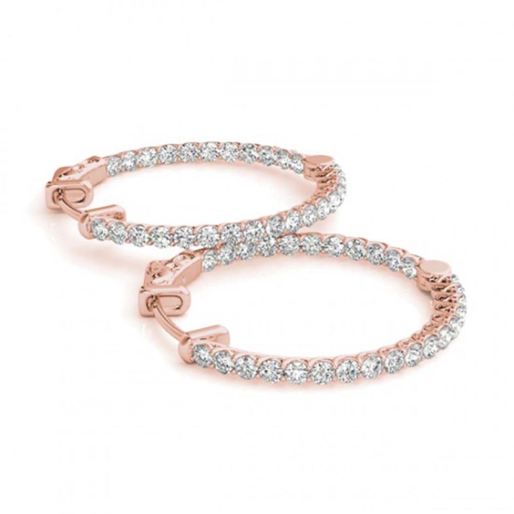 4 ctw Diamond VS/SI 38 mm Hoop Earrings 14K Rose Gold - REF-246W7H - SKU:29057