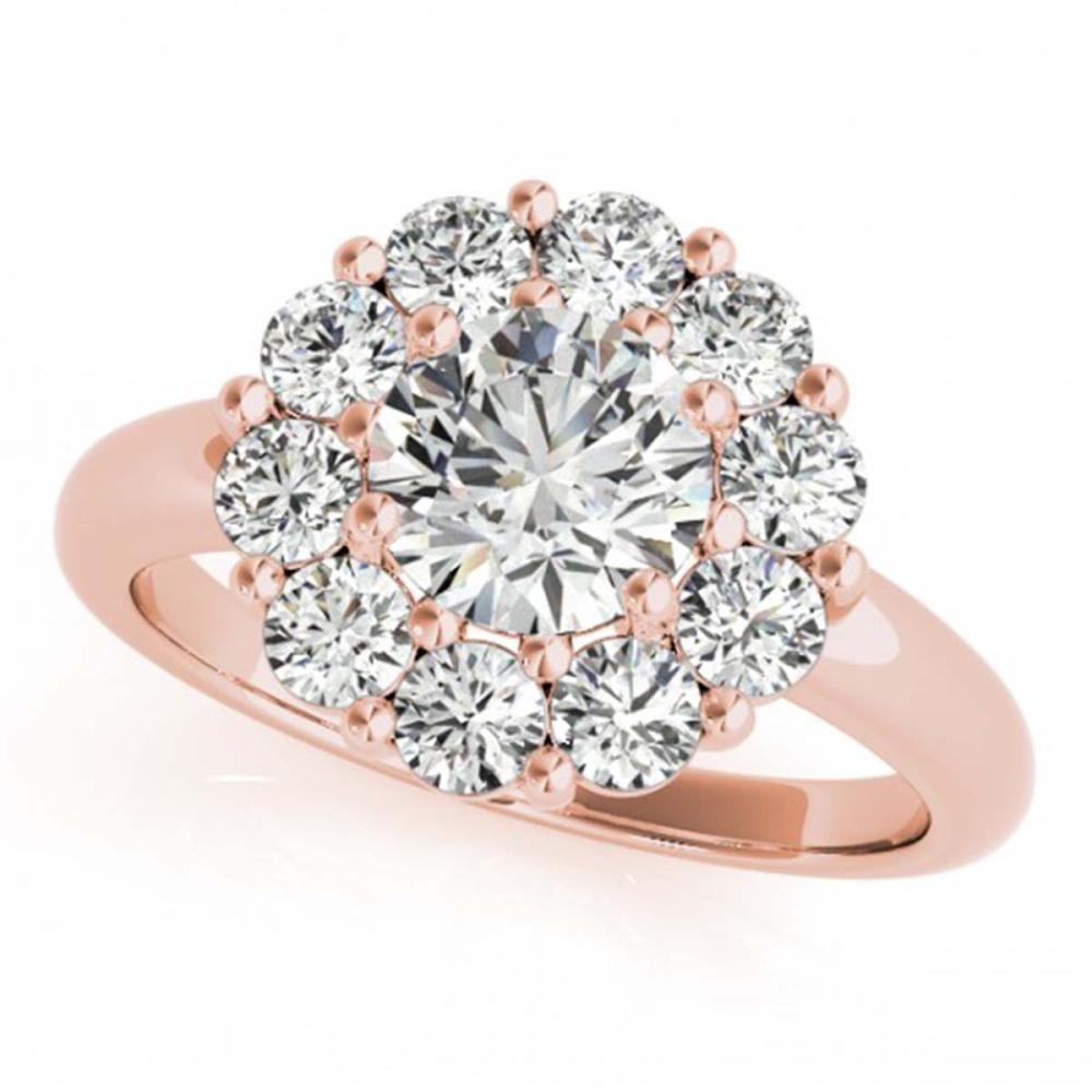 2.09 ctw VS/SI Diamond Solitaire Halo Ring 14K Rose Gold - REF-307K6W - SKU:24864
